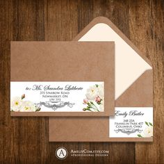 Printable Address Labels Instant Download - Editable DIY Vintage White Roses Wrap Around Address Label Stickers Template  A6, A7 envelopes