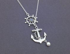 Antique Silver Anchor Necklace Nautical by BurntSugarBoutique