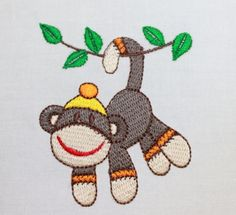 embroidery squares | Sock Monkey Quilt Squares Fabric Embroidery Machine Embroidery 10 in ...