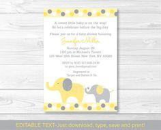 Yellow & Grey Elephant Baby Shower por LittlePrintsParties en Etsy