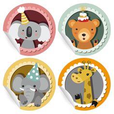 24 süße Geburtstags Aufkleber mit Geburtstags Koala, Bär, Elefant und Giraffe (matt, ø 45mm; 6 x 4 Tiere) 1