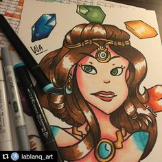 "#Repost @lablanq_art #fanart ""Copic portrait drawing of the Chinese goddess Nu Wa as portrayed by the game Smite  ""#smitegame #nuwa"