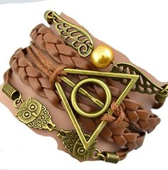 Peace River Designs Harry Potter Deathly Inspired Hallows Owl Infinity Leather Charm Bracelet - Believe Freedom