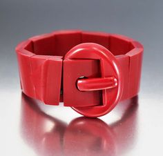 Vintage Wide Buckle Red Art Deco Bakelite Bracelet
