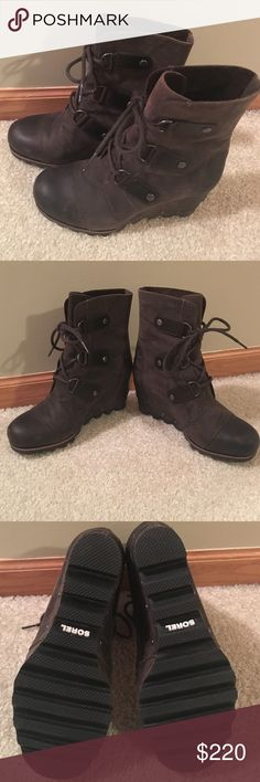 Sorel Joan of Arctic Wedge, size 7.5 Brown leather, waterproof, worn 1 time...look brand new.  Shaft Height: 6 1/2 in. Heel Height: 2 3/4 in. Platform Height: 3/4 in. Weight: 16 oz / 454 g. Measurements based on size 7. Sorel Shoes Ankle Boots & Booties