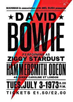 Cartel del concierto de David Bowie, David Bowie lámina, música inspirada impresión, impresión del concierto, Ziggy Stardust, de David Bowie,…