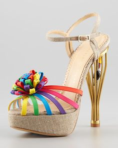 Birds of Paradise Cage-Heel Sandal by Charlotte Olympia at Neiman Marcus.