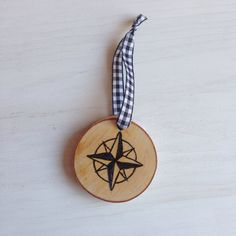 Compass Rose Hand-Etched Birch Ornament by BirchLandingHome