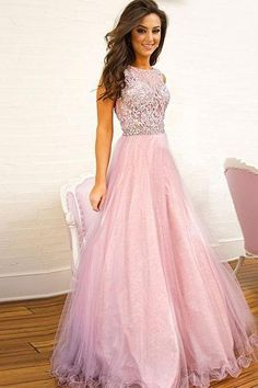 Pink Lace tulle long prom dress, pink evening dress , Formal Dress