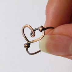 Wire Heart Ring, copper, cute, simple, hammered, oxidized, custom sized ring
