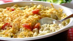 A combination of chicken, cheese and chives makes for a heartwarming, tasty supper. Pasta Bake, Recipe Details, Macaroni And Cheese, Tasty, Chicken, Dinner, Baking, Drinks, Ethnic Recipes