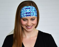 Yoga headband Purple and green tie dye by WildandFreeFashion