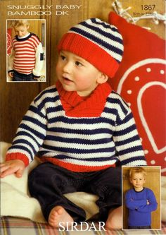 Sweaters and Hat in Sirdar Snuggly Baby Bamboo DK - 1867 (knitting this for jack but all in grey).may become his school jumper! Knit Baby Sweaters, Baby Hats Knitting, Knitting For Kids, Baby Knitting Patterns, Baby Patterns, Free Knitting, Knitted Hats, Baby Bamboo, Crochet For Boys