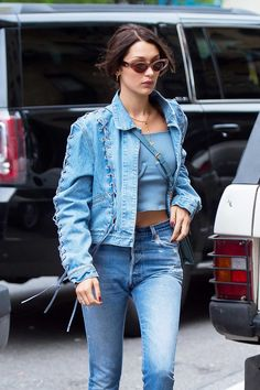 Bella Hadid In A Made Gold Denim Jacket - In New York City, 2017