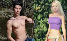 """Turns out, Barbie and Ken are not meant to be. When """"real-life Barbie"""" Valeria Lukyanova met """"real-life Ken"""" Justin Jedlica, sparks didn't fly. Barbie In Real Life, Barbie And Ken Costume, Ideal Beauty, Living Dolls, Ken Doll, Barbie World, Love At First Sight, Couture, Plastic Surgery"""