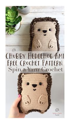 chubby hedgehog ami free crochet pattern - spin a yarn crochet I am back with another full-size amigurumi pattern for this super chubby, super cheeky hedgehog! Crochet Kawaii, Crochet Diy, Crochet Amigurumi, Crochet Pillow, Crochet Gifts, Crochet Dolls, Crochet Ideas, Crochet Patterns Amigurumi, Knitting Patterns