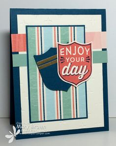 by Mary: Badges & Banners, By the Shore dsp, Sparkle embossing folder, Best Badge Punch - all from Stampin' Up!