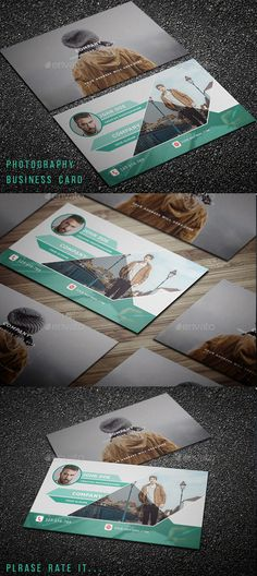 New Photography Business Card Template - Business Cards Print Templates Print Templates, Card Templates, Business Card Template Photoshop, Minimal Business Card, Photography Business Cards, Fonts, Graphics, Modern, Color