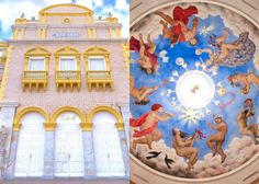The exterior of the Heredia Theatre (left), and detail of the interior frescoes (right). The Theatre's restoration project is part of Graphenstone's stable of projects using the compound graphene. © Graphenstone.