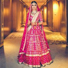 Fiery Fuchsia Pink !! #pink #bridal #lehenga #designer #indianbride #indianweddings #jewellery #makeup