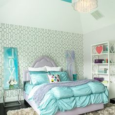 Super glam girls room#girls #girlsroom #decor #design #lavender #aquablue #chandiler #kids #kidsdecor #kidsdesign #homedecor #homedesign #igdaily #instahub #instapic #instakids #instamoms #instadecor #instadesign #interiordesign #teen #glam #picoftheday... - Home Decor For Kids And Interior Design Ideas for Children, Toddler Room Ideas For Boys And Girls