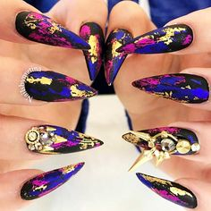 21 Stunning Gold Foil Nail Designs to Make Your Manicure Shine ★ Unusual Bright Colored Designs with Gold Foil Picture 3 ★ See more: http://glaminati.com/gold-foil/ #goldfoilnails #goldfoilnailart