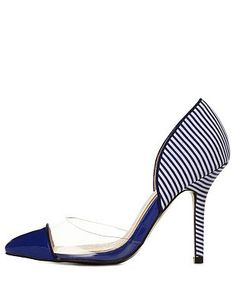 Qupid Striped Lucite Cap-Toe Pumps: Charlotte Russe