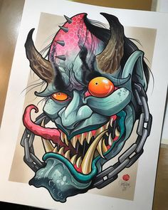 Best Picture For Tattoo Style classic For Your Taste You are looking for something, and it is going to tell you exactly what you are looking for, and you didn't find that picture. Here you will find t Hannya Mask Tattoo, Hanya Tattoo, Demon Tattoo, Japanese Mask Tattoo, Japanese Tattoos, Tattoo Sketches, Tattoo Drawings, Desenho New School, Japanese Artwork