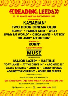 Order tickets for Reading & Leeds here: http://festivallers.co.uk/readingleeds    This August Bank Holiday weekend sees the return of the ever-popular twin-centre giant that is Reading/Leeds Festival, with Muse, Kasabian and Korn playing alongside Fatboy Slim, Wiley and many more.    Many more acts are to be added – pick up your tickets here: http://festivallers.co.uk/readingleeds