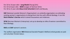 For 10 to 14 year olds – Jung Madel (Young Grls) For 14 to 8 year olds – BDM (League of German Girls) For 18 to 21 year ol...