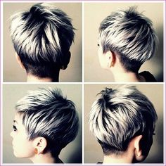 25 Short Silver Hairstyles # Informations About 25 Kurze Silberne Frisuren Pin You can easily use … Black And Silver Hair, Short Silver Hair, Silver Blonde Hair, Short Grey Hair, Short Hair Cuts For Women, Short Hair Styles, Blonde Brunette, Grey Pixie Hair, Pixie Hair Color