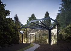 The stunning Greenhouse at Grüningen Botanical Garden by Buehrer Wuest Architekten.