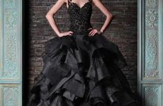 A black wedding dress can be very glam and elegant if you like. Many modern designers include this color into their collections and you can find a wonderful Wedding Dress Black, Pnina Wedding Dresses, Colored Wedding Gowns, Cute Black Dress, Best Wedding Dresses, Bridal Gowns, Berta Bridal, Green Wedding, Summer Wedding
