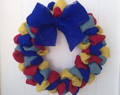 Burlap Autism Awareness Wreath Ryan's by onceuponaflowerbyMW