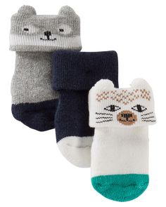 3-Pack Terry Animal Booties
