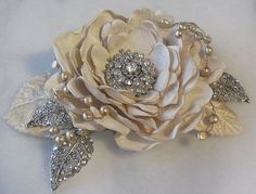 Champagne Hair Flower Bridal Fascinator by TheRedMagnolia