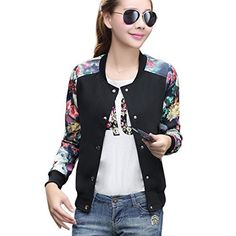 New Trending Outerwear: Hellomamma Womens Slim Fit Floral Print Baseball Bomber Jacket Black M. Hellomamma Women's Slim Fit Floral Print Baseball Bomber Jacket Black M  Special Offer: $25.99  344 Reviews Women Floral Casual Jacket Sports Coat for Spring and Autumn Material: Polyester Style: Casual, Sports and Outdoor Features for 3358 series: Round neck, Floral, Front...