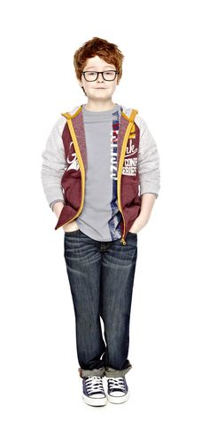 a style all his own -- boys jeans and hoodie