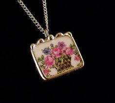 Broken china jewelry pendant necklace antique basket of pink roses