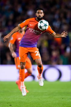 Gael Clichy of Manchester City FC controls the ball during the UEFA Champions League group C match between FC Barcelona and Manchester City FC at Camp Nou on October 19, 2016 in Barcelona, Catalonia.