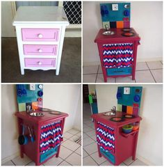 DIY kids kitchen from bedside table