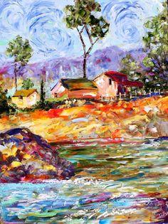 Original oil painting California Coast Palette by Karensfineart,
