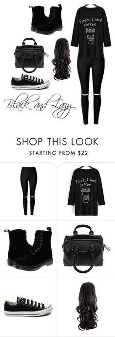 """""""Black and Lazy"""" by blackashes on Polyvore featuring Dr. Martens, Givenchy, Converse, women's clothing, women, female, woman, misses and juniors"""