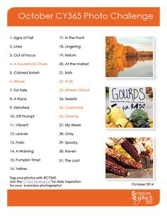 October Photo Challenge List 2014 - grab the FREE pdf. Photography Challenge, Photography Projects, Photography Business, Creative Photography, Photography Tips, 30 Days Photo Challenge, 365 Challenge, Doodle On Photo, Photo Scavenger Hunt