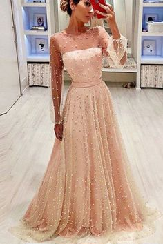 2019 A Line Round Neck Long Sleeves Champagne & Peach Pearls Long Prom Dresses, SSM, This dress could be custom made, there are no extra cost to do custom size and color. Unique Formal Dresses, Dresses Elegant, Prom Dresses Long With Sleeves, Pretty Dresses, Beautiful Dresses, Sexy Dresses, Dress Long, Dress Formal, Fancy Dresses For Weddings