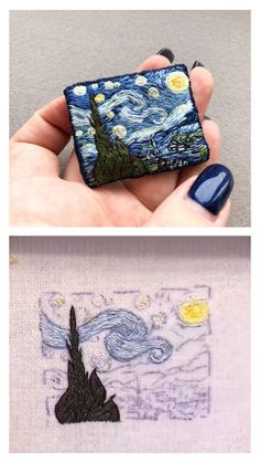 Arts and crafts Ideas With Buttons - Fun Arts and crafts DIY - - Arts and crafts For Toddlers Boys Embroidery Designs, Hand Embroidery Art, Hand Embroidery Videos, Creative Embroidery, Embroidery Stitches, Arts And Crafts For Teens, Art And Craft Videos, Arts And Crafts Interiors, Van Gogh Art
