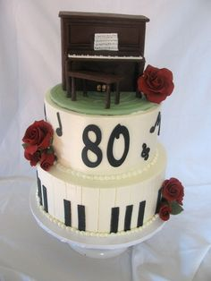 Customer asked me to make an upright piano for her mother's 80th as that's been her passion her whole life.  Cake iced in bc, black decos fondant, piano is RKT covered in moldeling choc., roses are gumpaste.  TFL