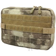 Condor T Pouch MOLLE in A-TACS AU camo. Perfect for storing maps & documents, tablets, smartphones & other essential accessories. It features zipped main compartment with 2 internal pockets & fully adjustable paracord that prevents the pouch from opening to 180 degrees when fully unzipped & create a 90 degree angle work station. Moreover included is a Velcro secured removable clear plastic map/document sleeve (18x30cm), and multiple elastic straps to keep pens & navigation aids secure…