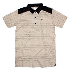 PULP POLO | IDR 145000 | A short-sleeved polo shirt is cut for a classic, breathable, durable cotton mesh.  Three-button placket, Our Hi-density logo on chest. features the black stripes pattern on cream material 100% cotton. with black suede panels on shoulder. Machine washable.