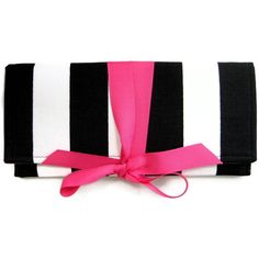 SALE black and white stripe clutch with hot pink bow. The ALEXIS... ($38) ❤ liked on Polyvore